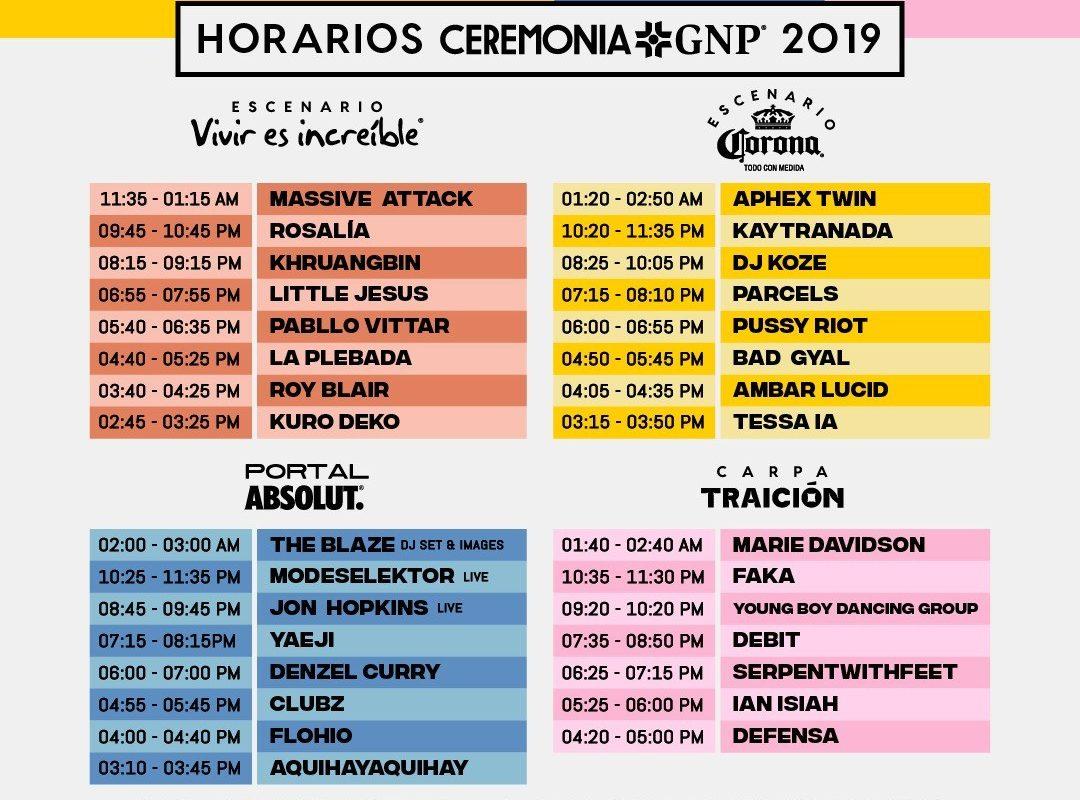 Horarios del Festival Ceremonia 2019